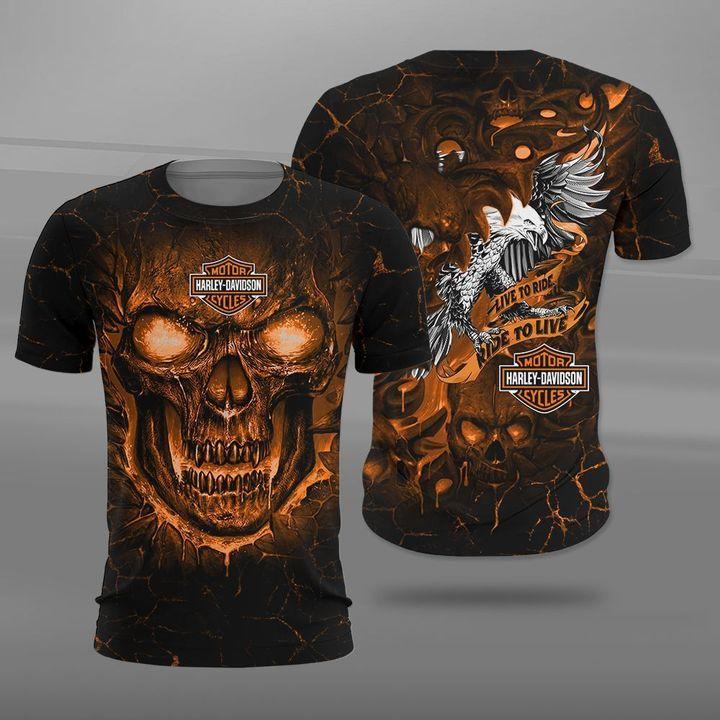 Harley-davidson motorcycles live to ride lava skull full printing tshirt