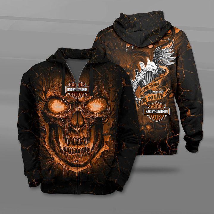 Harley-davidson motorcycles live to ride lava skull full printing zip hoodie