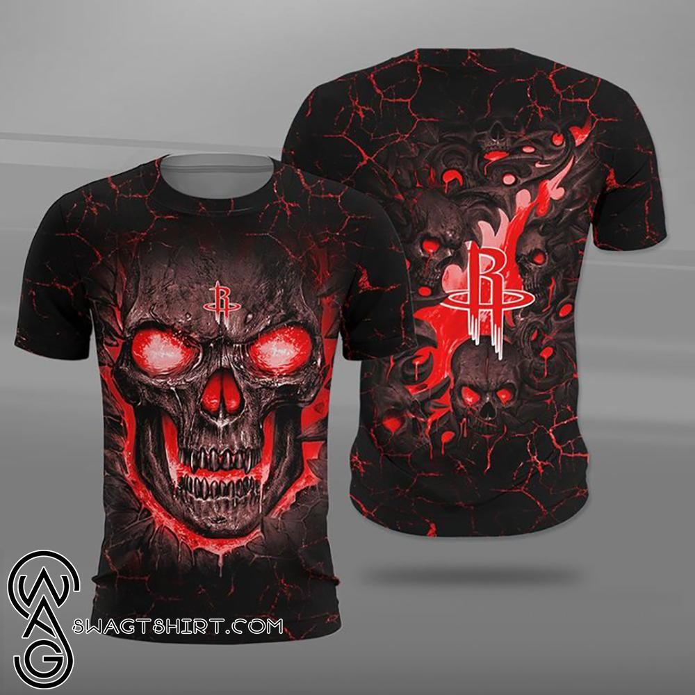 Houston rockets lava skull full printing shirt