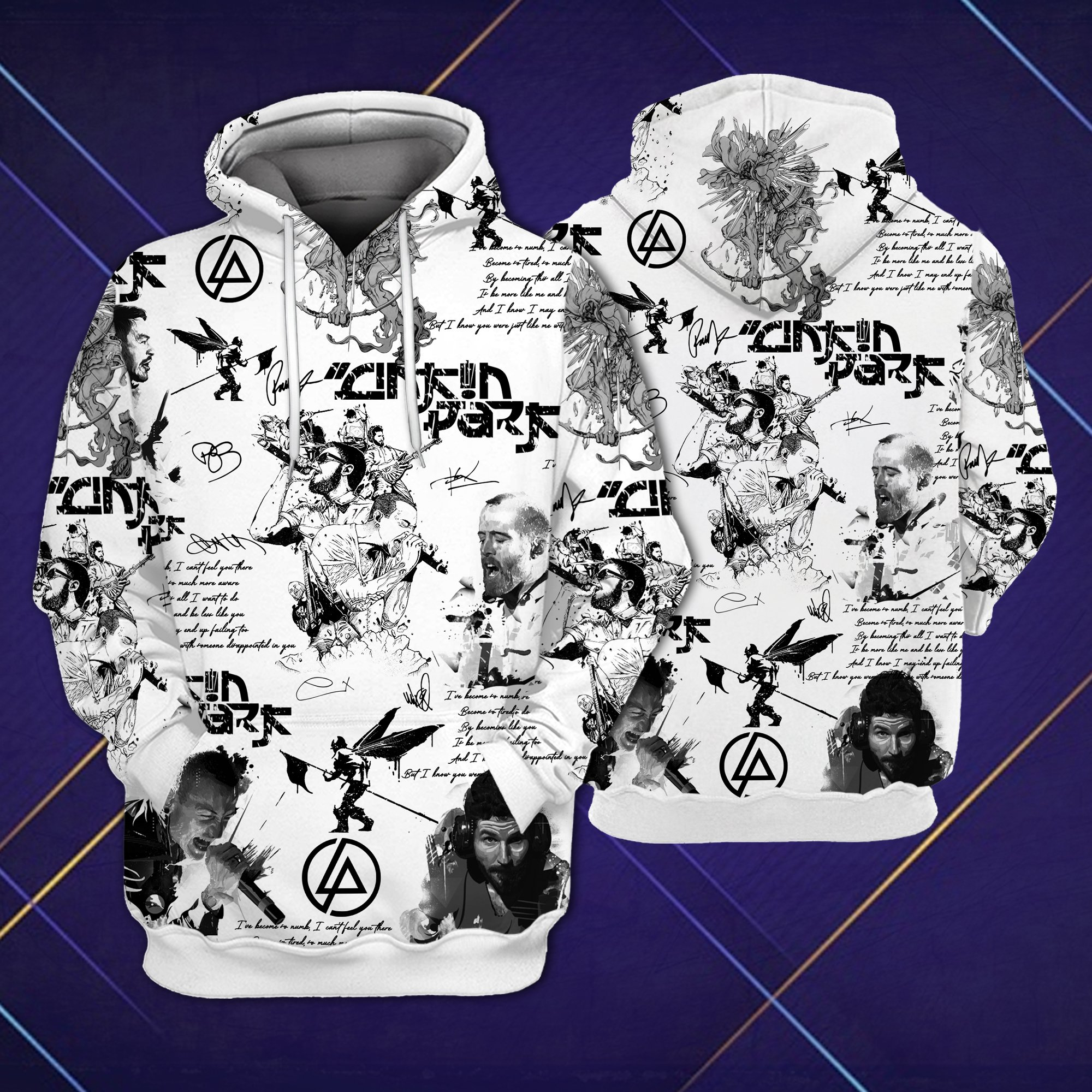 Linkin park all over printed hawaiian hoodie