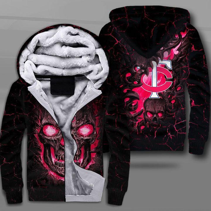 Minnesota twins lava skull full printing fleece hoodie