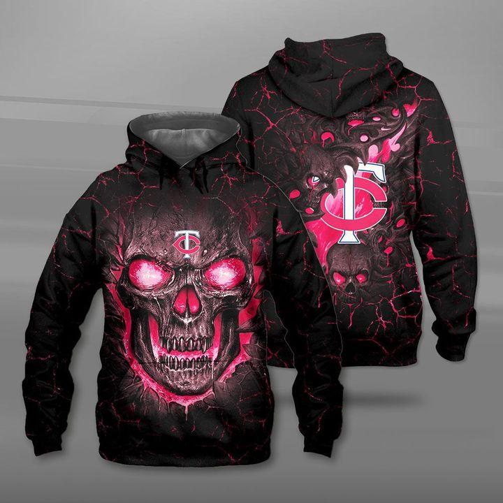 Minnesota twins lava skull full printing hoodie