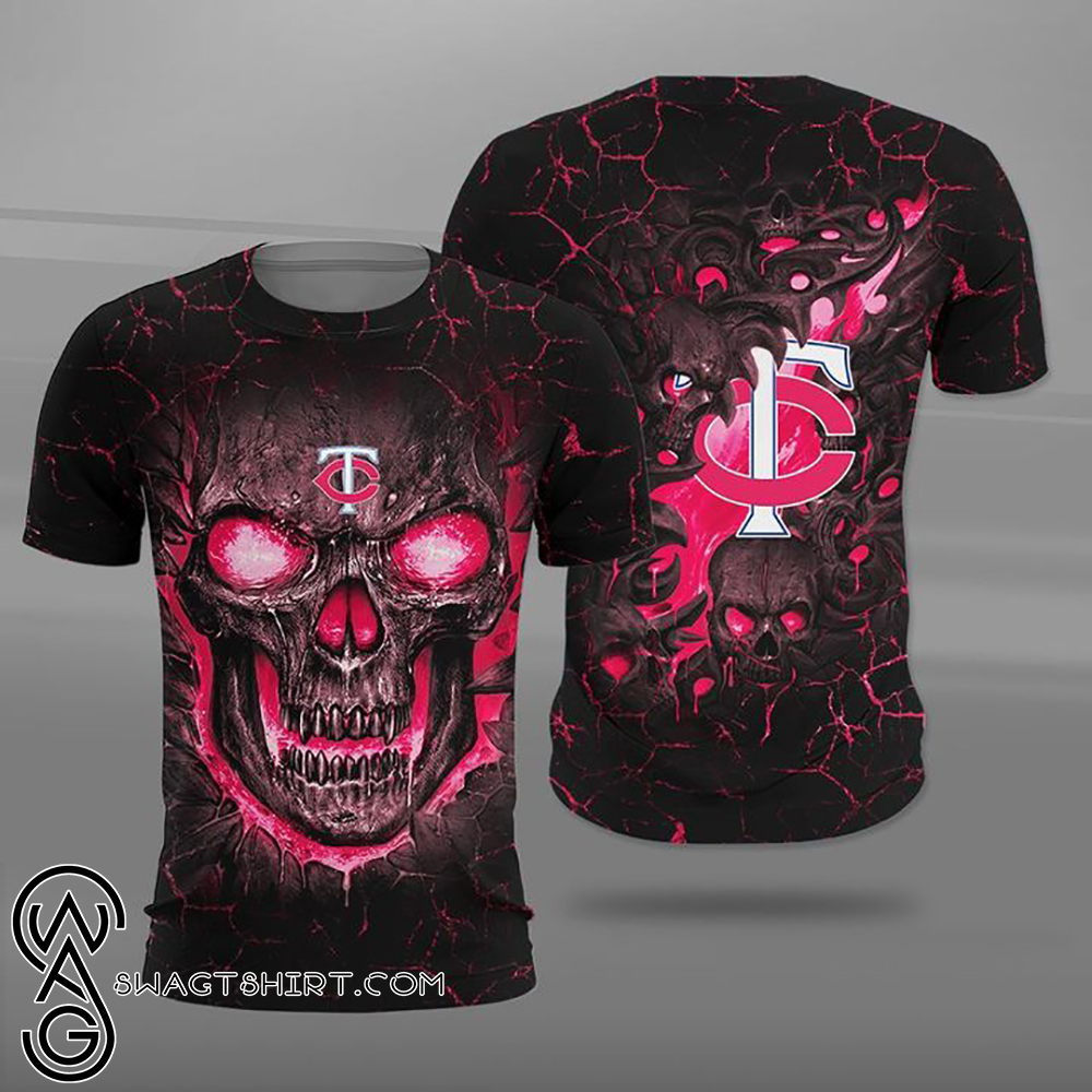Minnesota twins lava skull full printing shirt