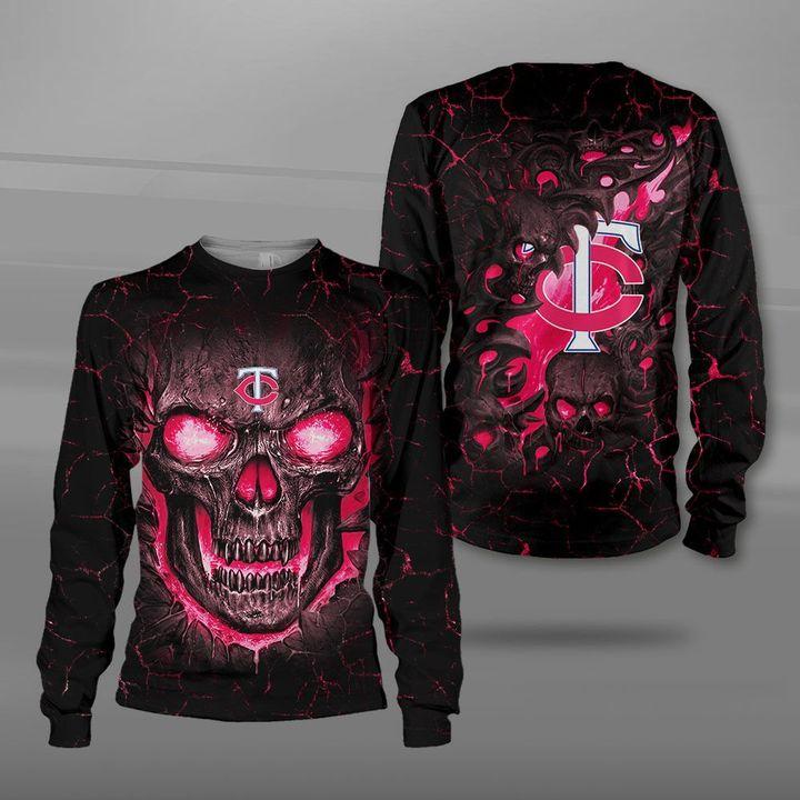 Minnesota twins lava skull full printing sweatshirt