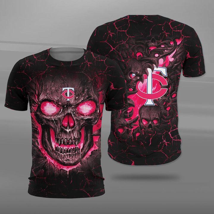 Minnesota twins lava skull full printing tshirt