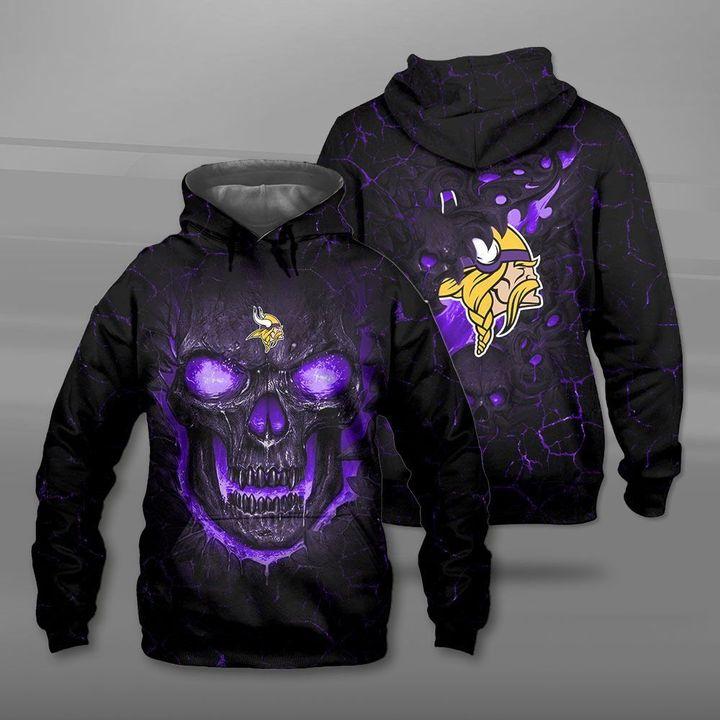 Minnesota vikings lava skull full printing hoodie