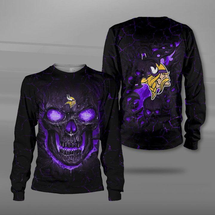 Minnesota vikings lava skull full printing sweatshirt