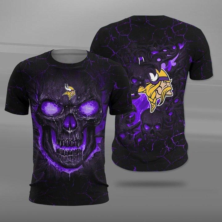 Minnesota vikings lava skull full printing tshirt