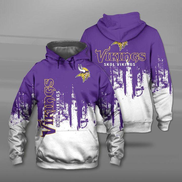 Minnesota vikings skol vikings full printing hoodie