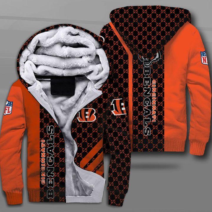 National football league cincinnati bengals logo full printing fleece hoodie