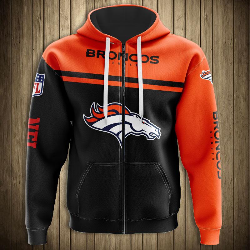 National football league denver broncos team zip hoodie