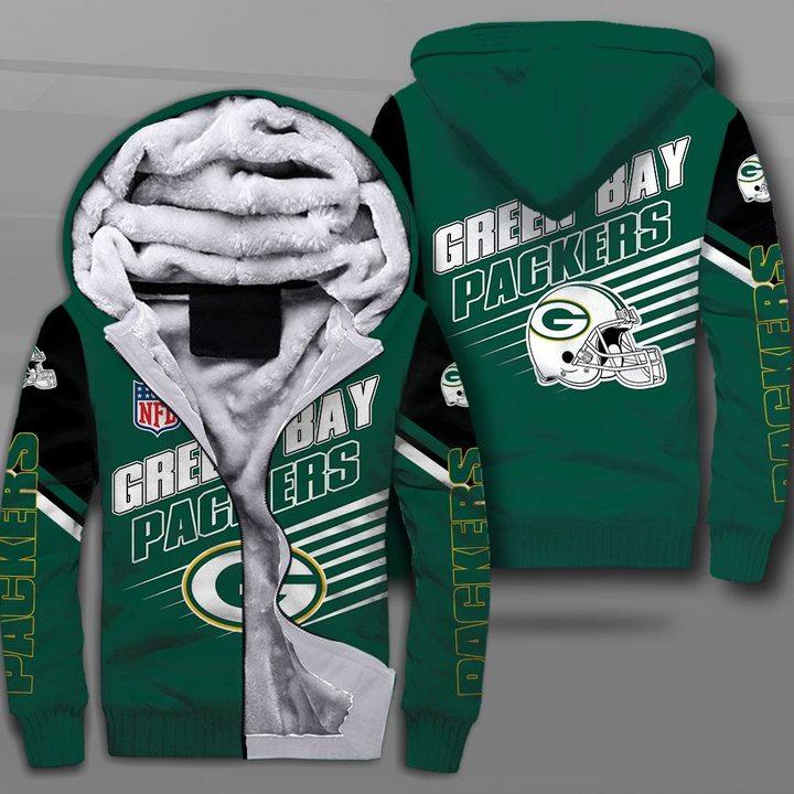 National football league green bay packers full printing fleece hoodie