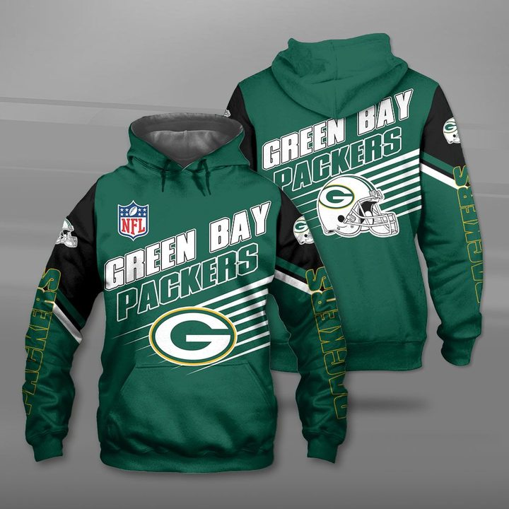 National football league green bay packers full printing hoodie