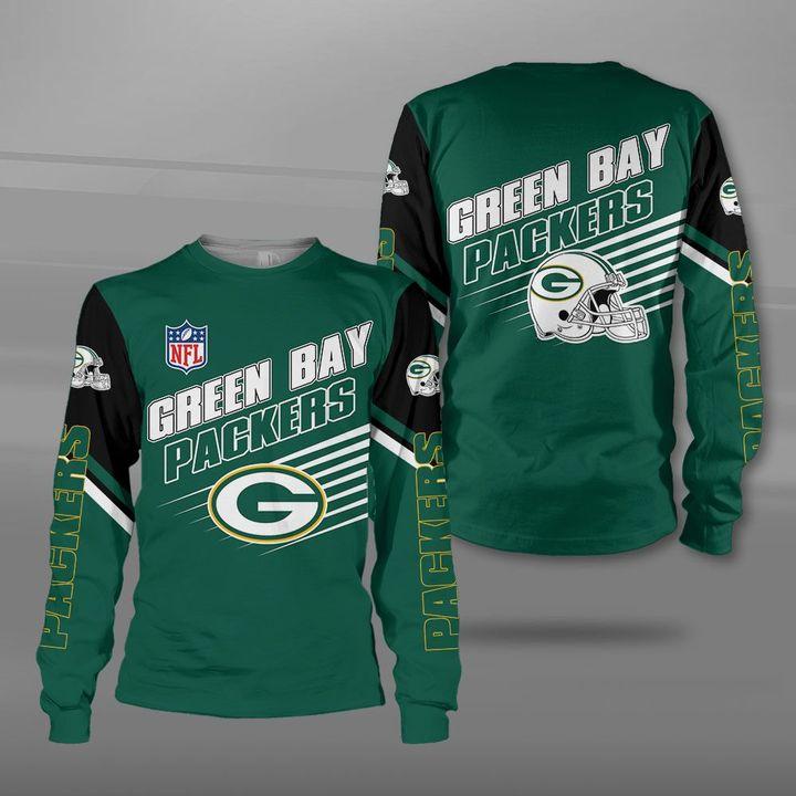 National football league green bay packers full printing sweatshirt