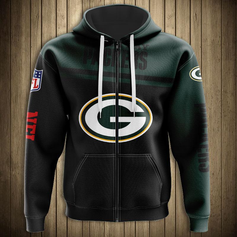 National football league green bay packers team zip hoodie
