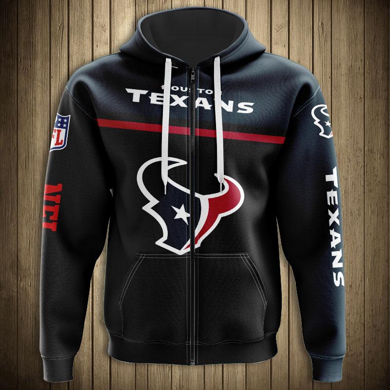 National football league houston texans team zip hoodie