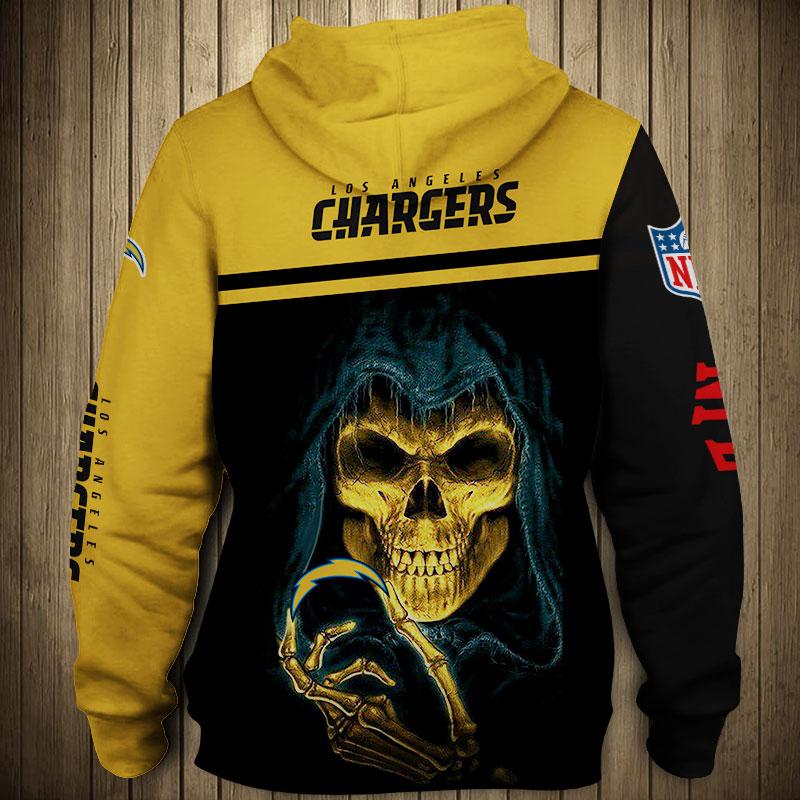 National football league los angeles chargers skull zip hoodie 1