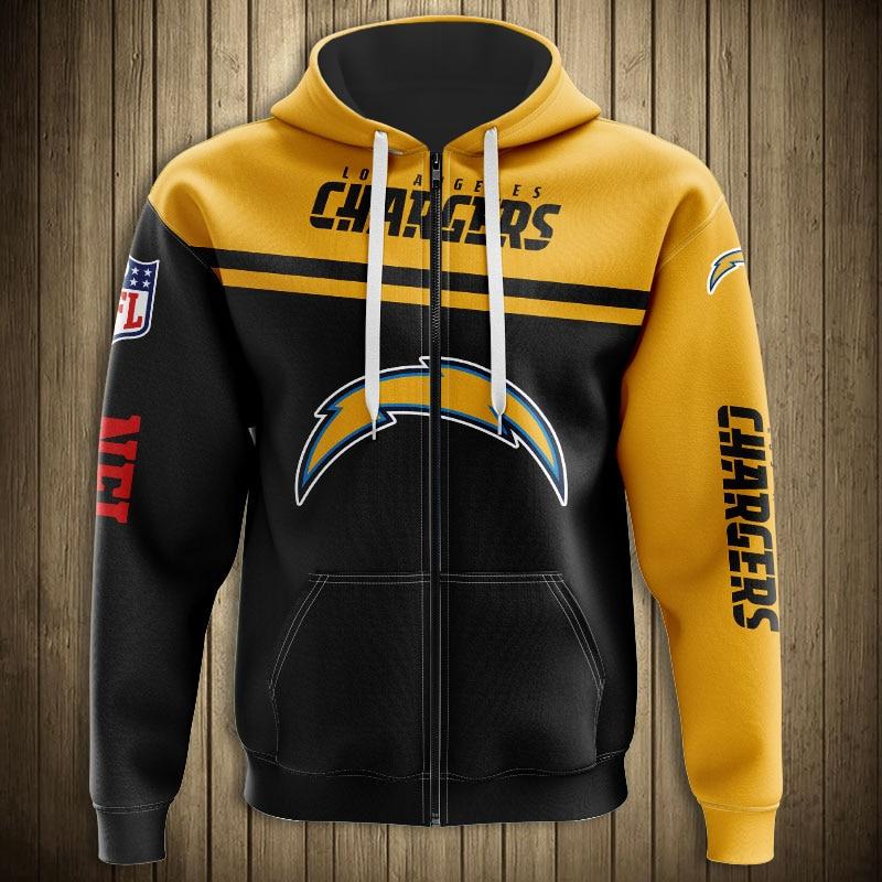 National football league los angeles chargers skull zip hoodie