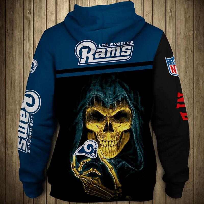 National football league los angeles rams skull hoodie 1
