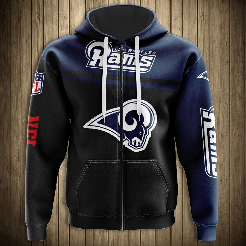 National football league los angeles rams skull zip hoodie