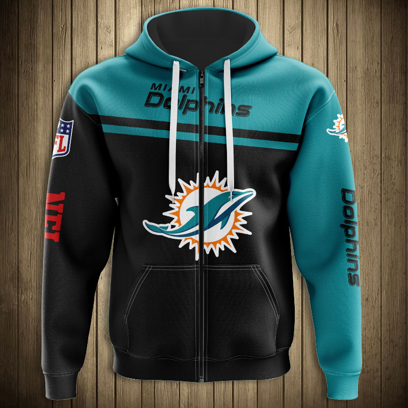 National football league miami dolphins team zip hoodie