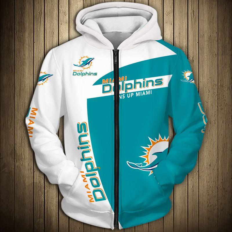 National football league miami dolphins zip hoodie