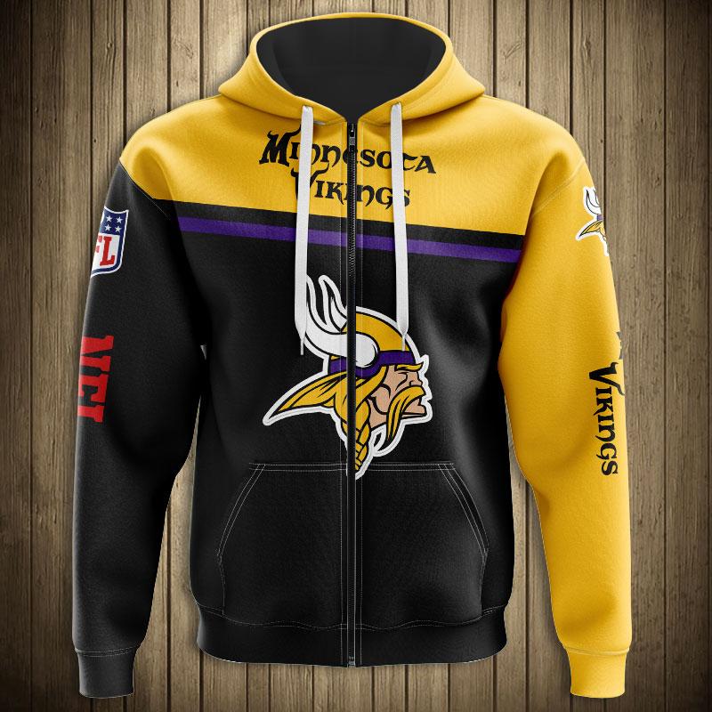 National football league minnesota vikings skull zip hoodie