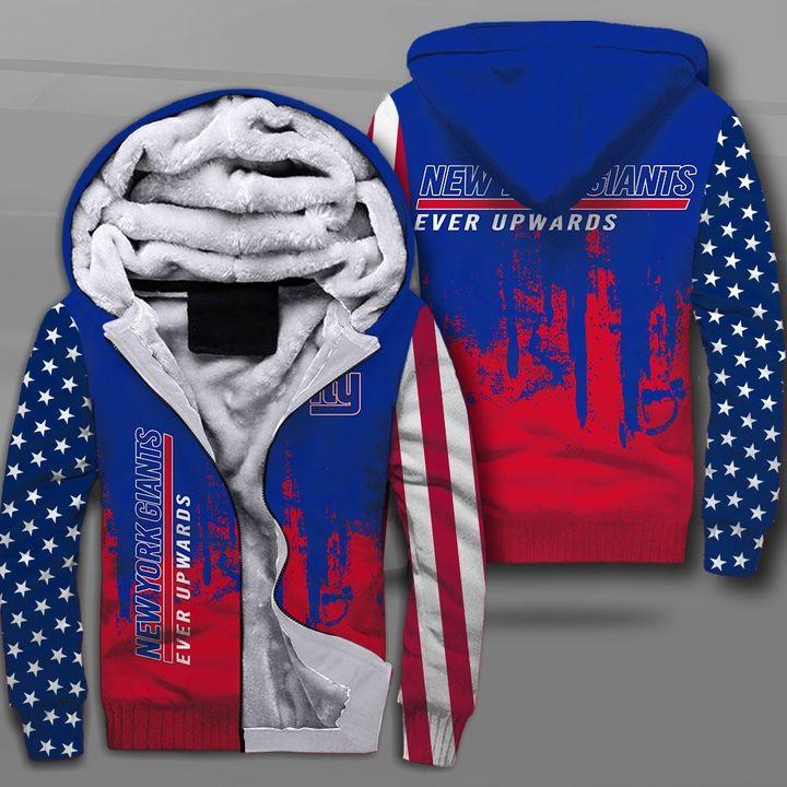 New york giants ever upwards american flag full printing fleece hoodie