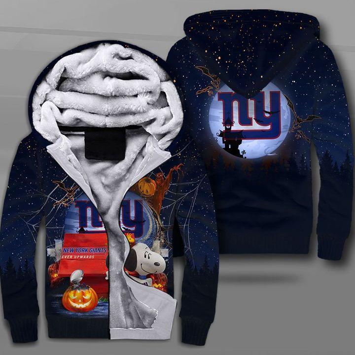New york giants ever upwards snoopy full printing fleece hoodie