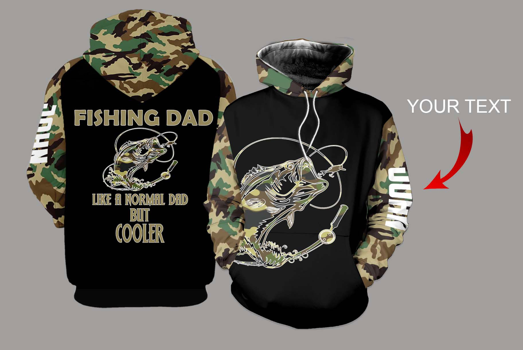 Personalized fishing dad bass camo full printing hoodie 1