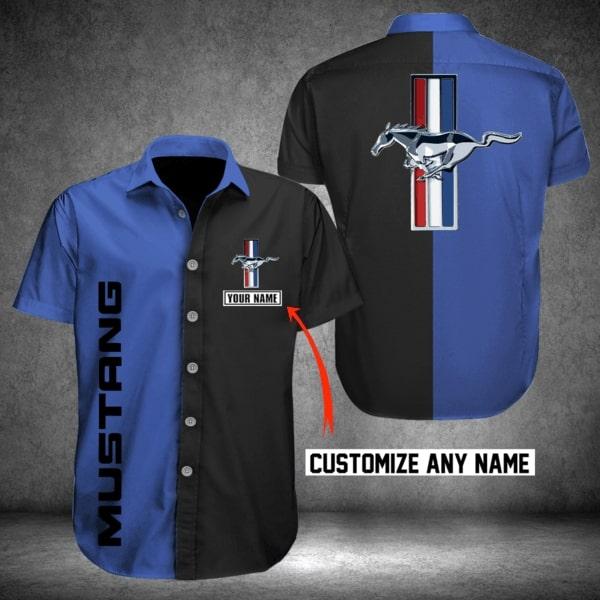Personalized ford mustang logo hawaiian shirt - navy