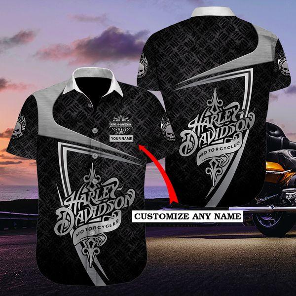 Personalized harley-davidson motorcycle hawaiian shirt 1