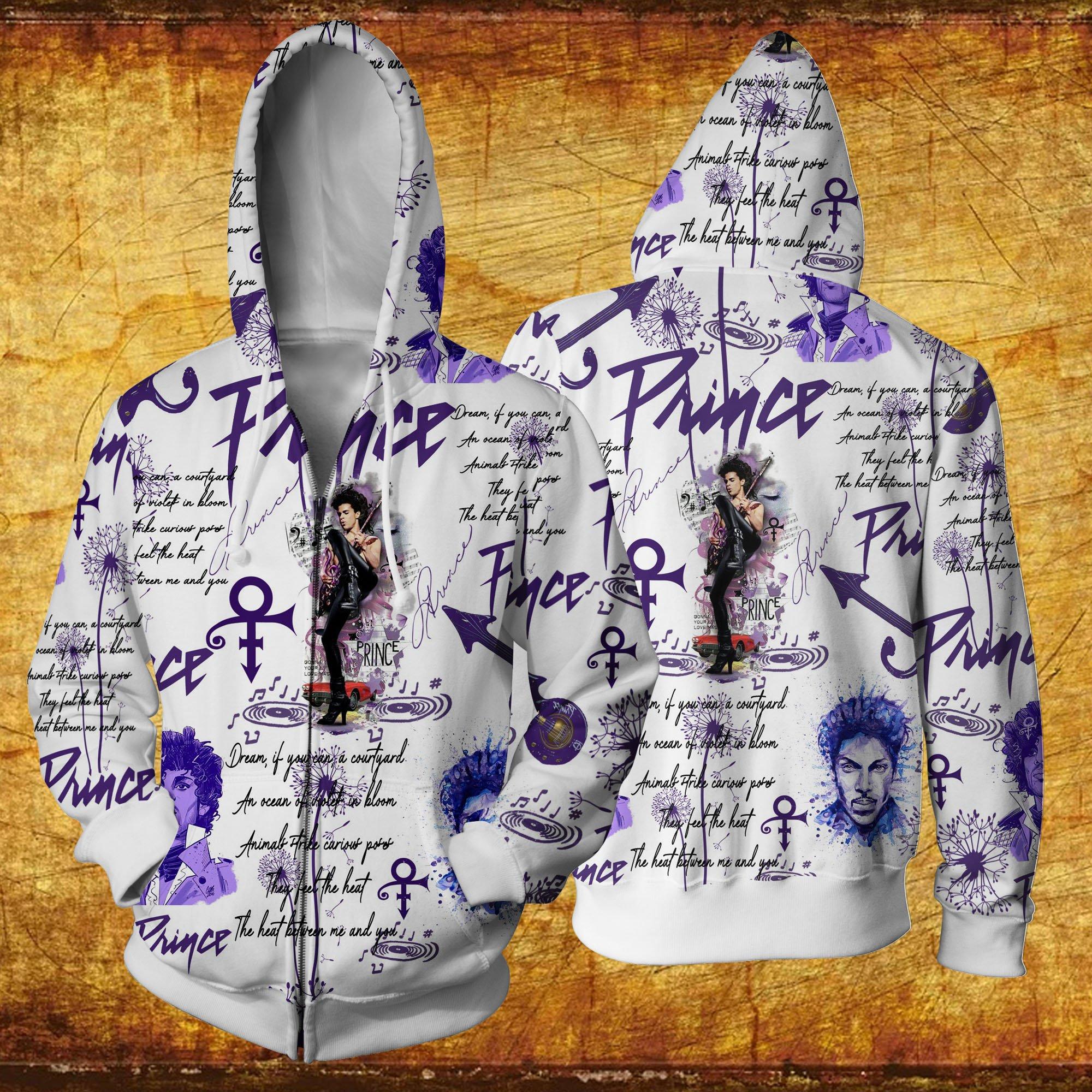 Prince all over printed hawaiian zip hoodie