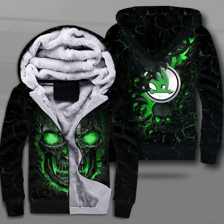 Skoda auto lava skull full printing fleece hoodie
