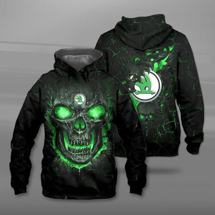 Skoda auto lava skull full printing hoodie