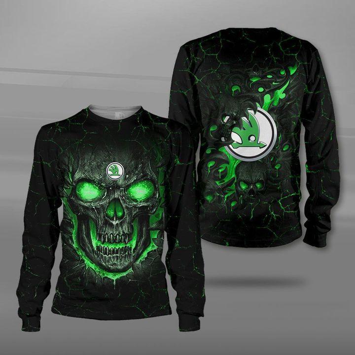 Skoda auto lava skull full printing sweatshirt