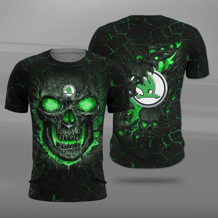Skoda auto lava skull full printing tshirt