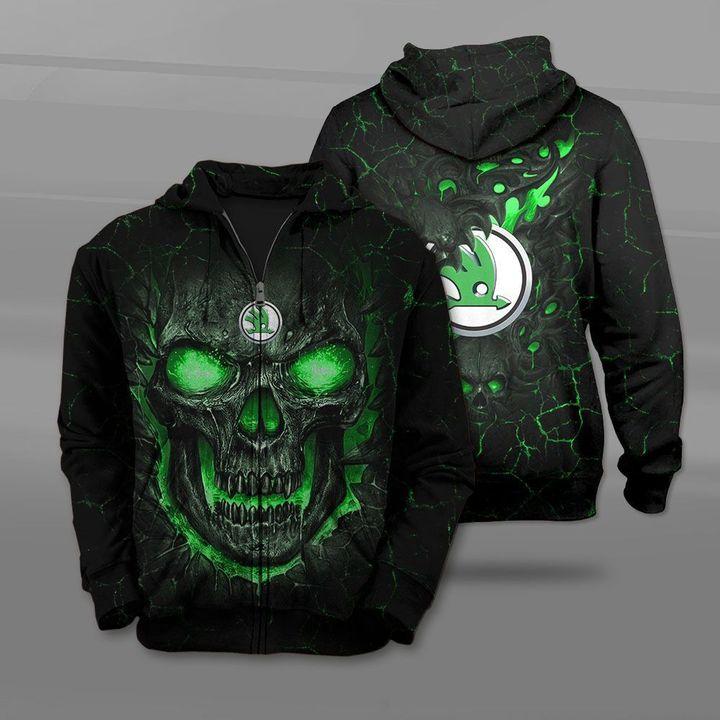 Skoda auto lava skull full printing zip hoodie