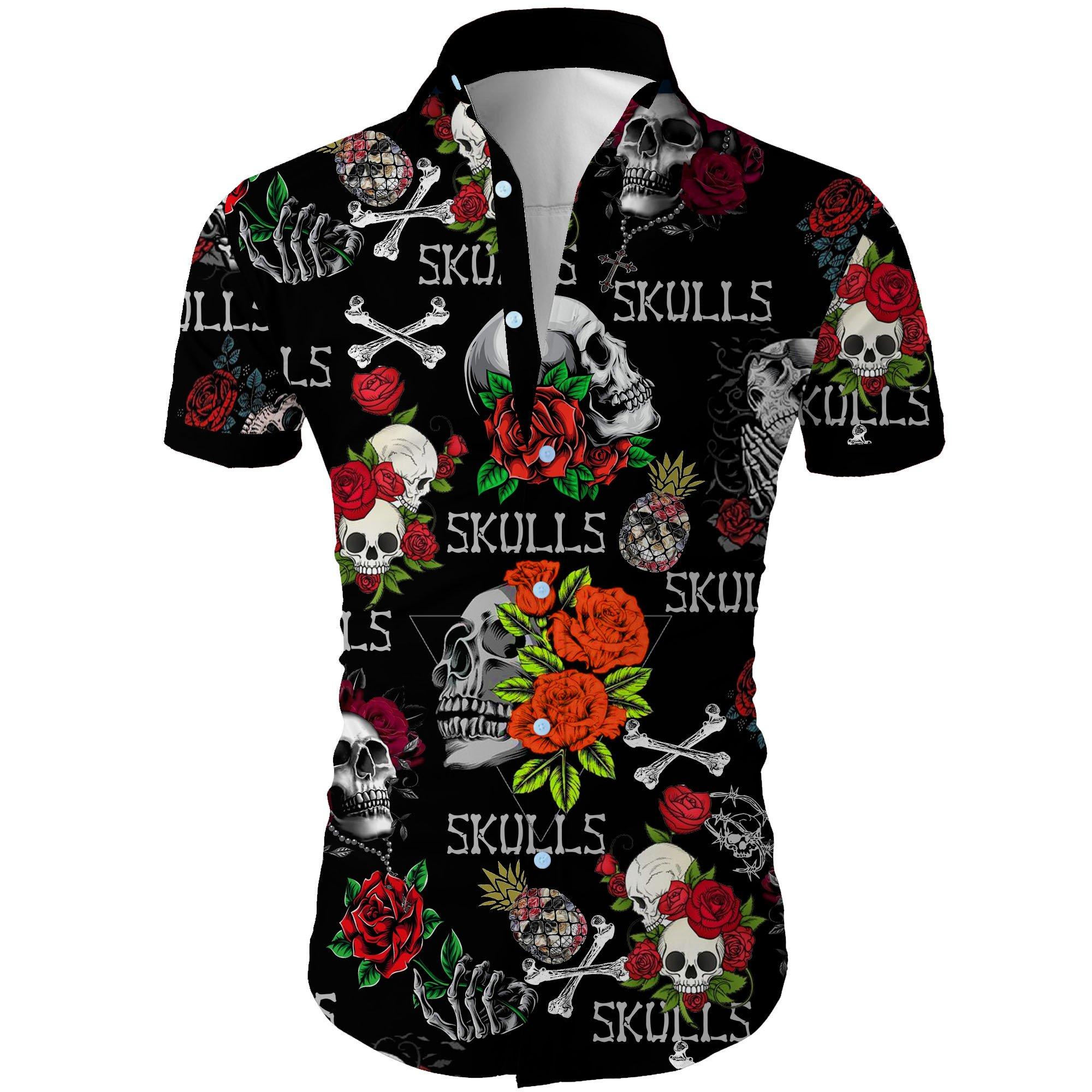 Skull and roses all over printed hawaiian shirt 1