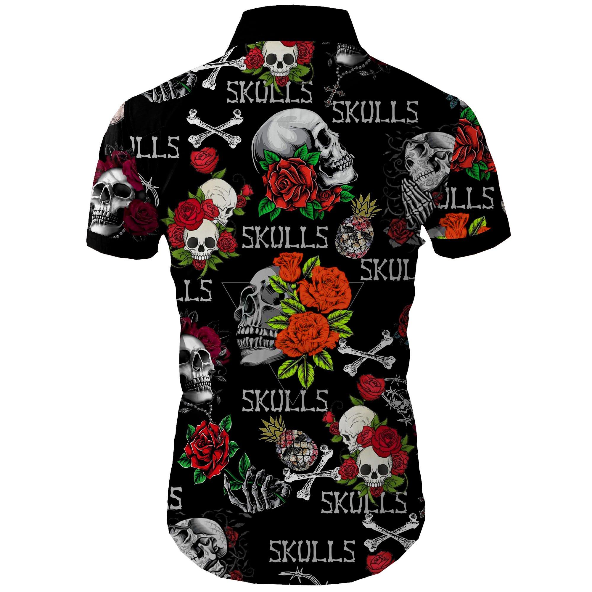 Skull and roses all over printed hawaiian shirt 2