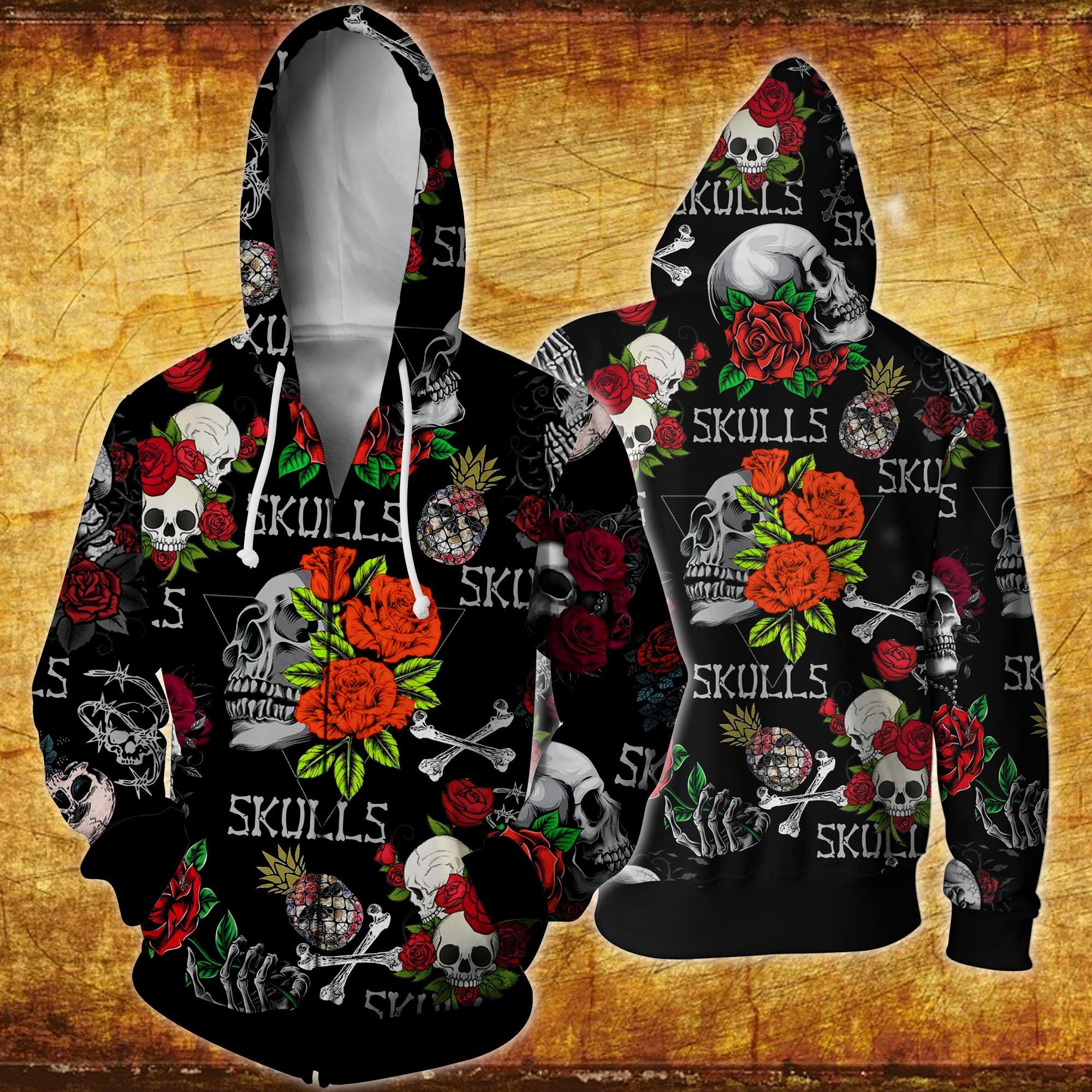 Skull and roses all over printed hawaiian zip hoodie
