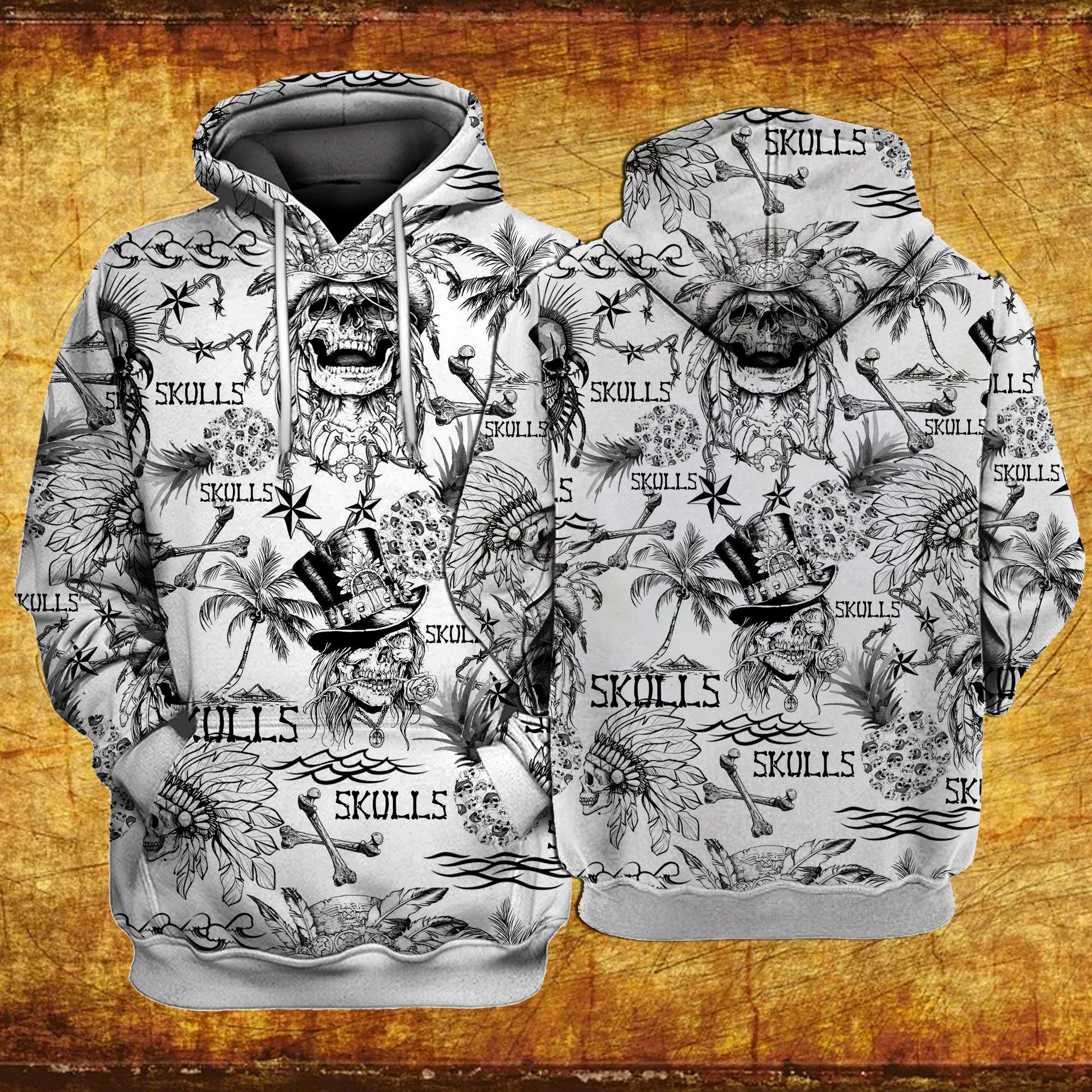 Skulls all over printed hawaiian hoodie