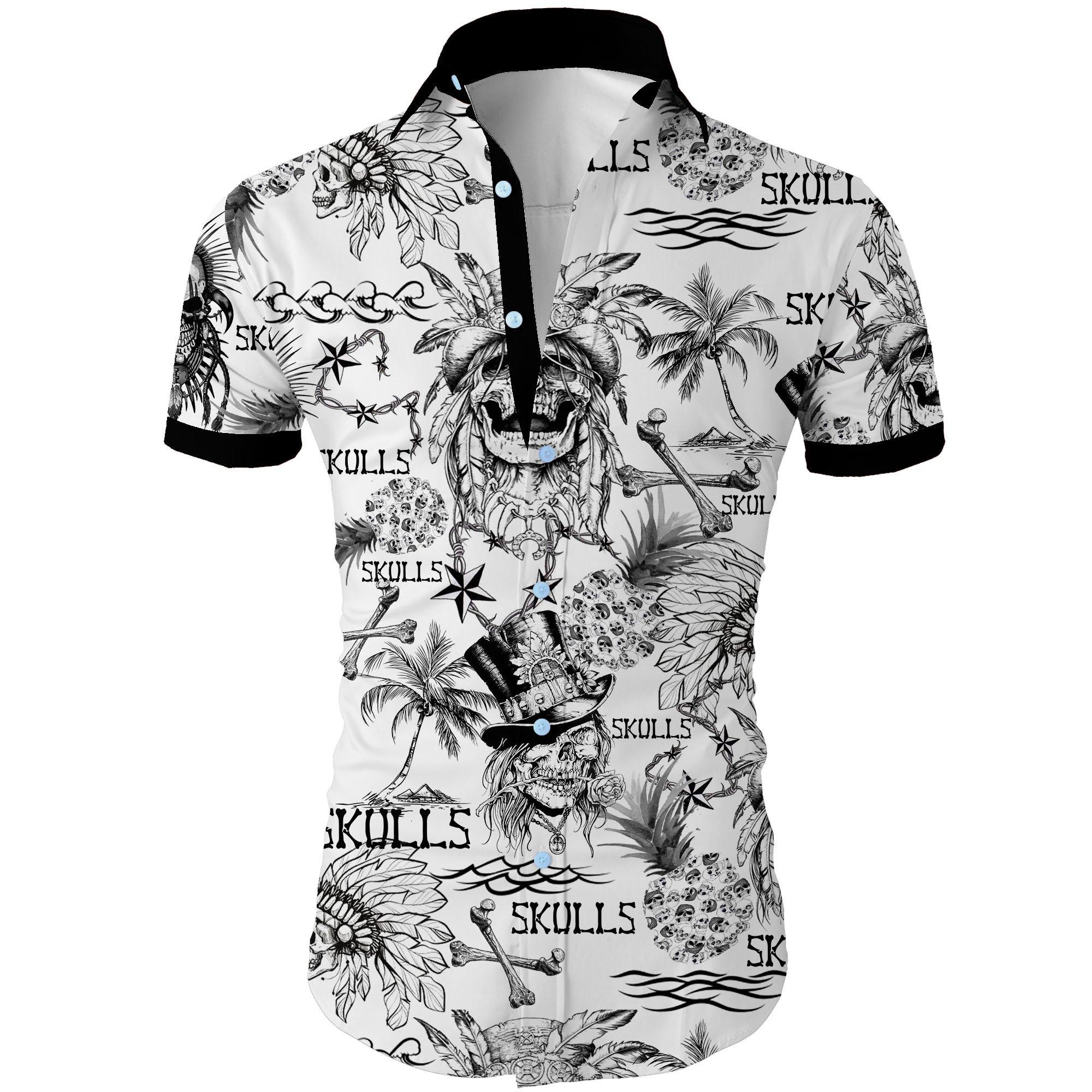 Skulls all over printed hawaiian shirt 1