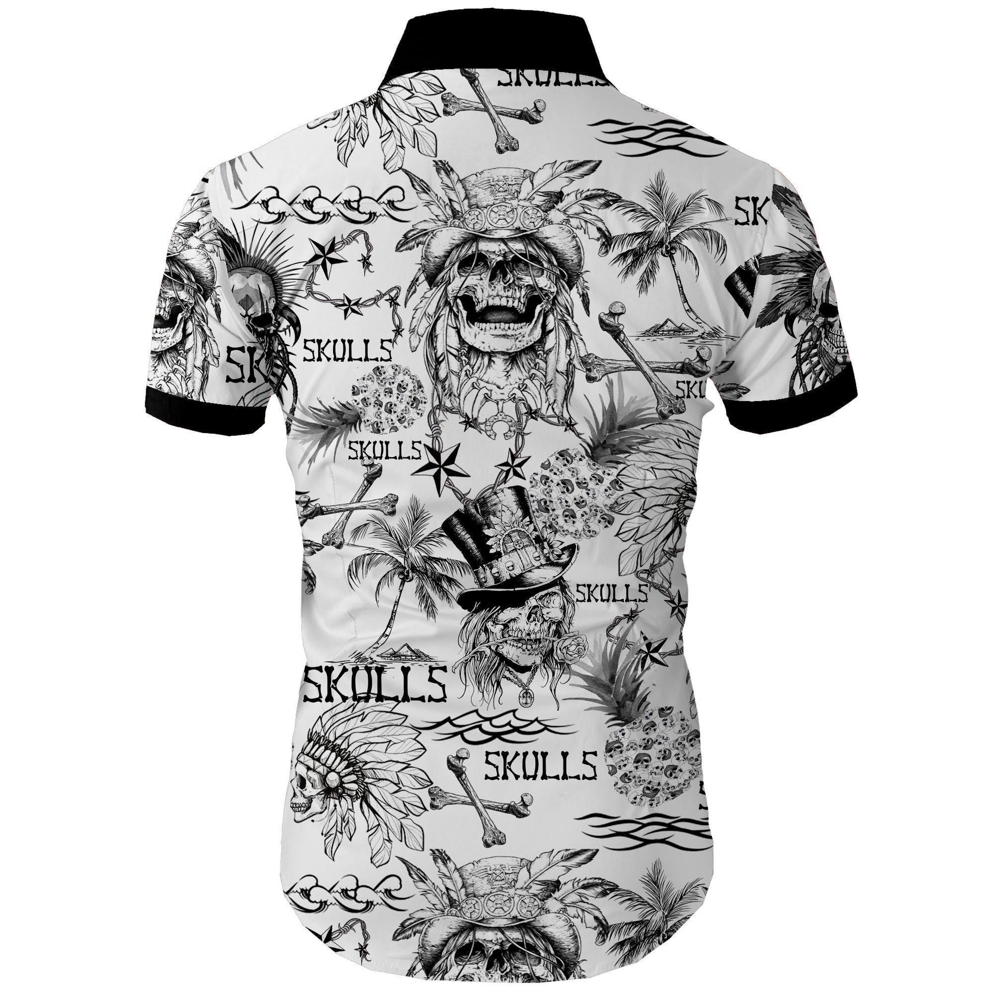 Skulls all over printed hawaiian shirt 2