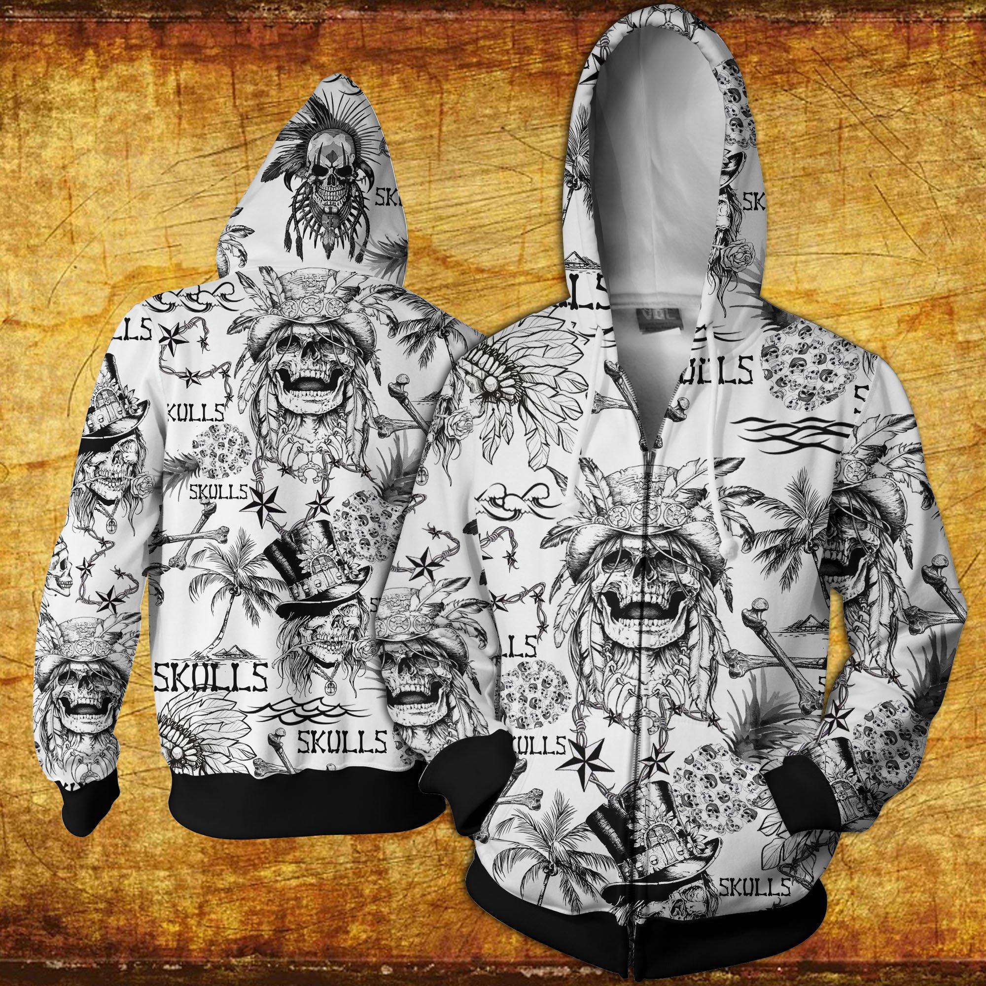 Skulls all over printed hawaiian zip hoodie