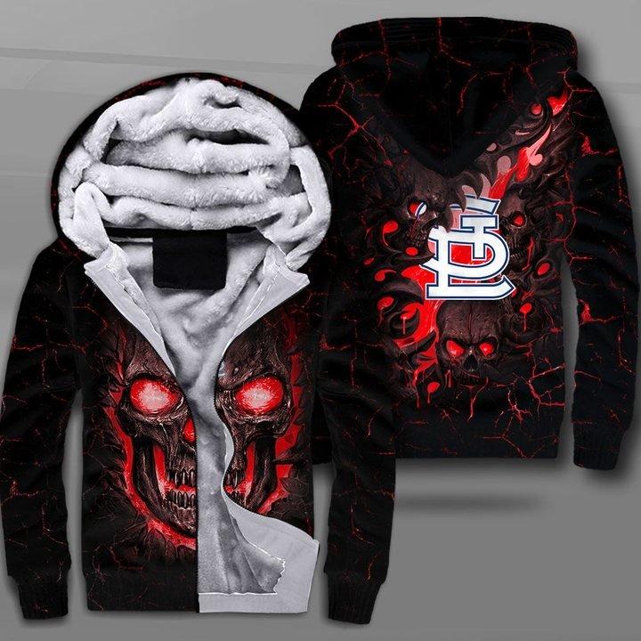St louis cardinals lava skull full printing fleece hoodie