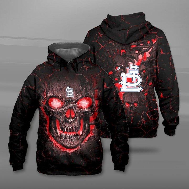 St louis cardinals lava skull full printing hoodie