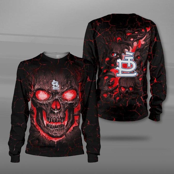 St louis cardinals lava skull full printing sweatshirt