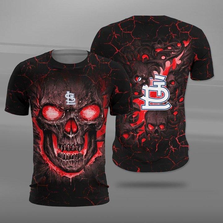St louis cardinals lava skull full printing tshirt