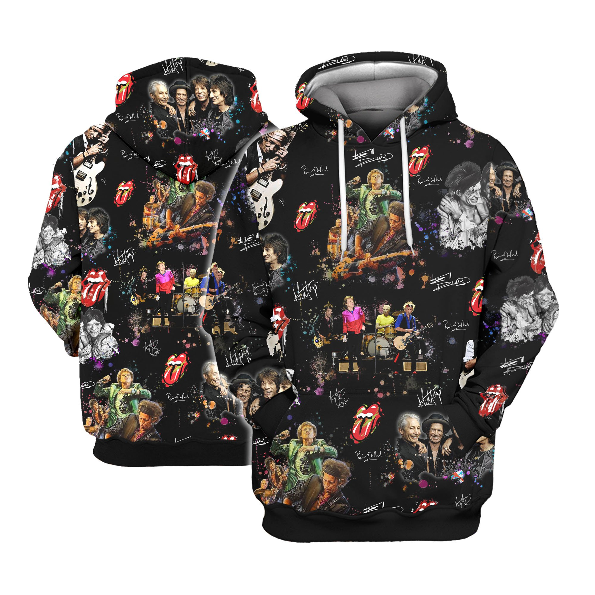 The rolling stones all over printed hawaiian hoodie